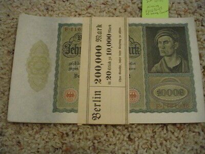 "20 banded consecutive # 19/1/1922 German 10,000 Marks ""Vampire"" notes-200K marks"
