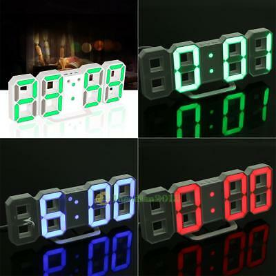 Digital LED Night Wall Desk Table Clock 24/12-Hour Alarm Snooze Time Setting