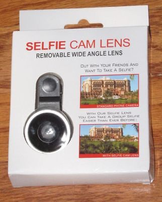SELFIE CAM LENS w/ Universal Clip, Removable Wide Angle Lens iPhone Android *NEW