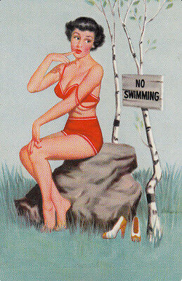 *Vintage Swap/Playing Cards - 1 Single - PINUP, NO SWIMMING