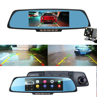 "HD 1080P Video Dash Cam Recorder 6.86"" Dual Lens GPS DVR GPS Navigation +Camera"