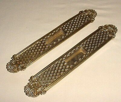 Antique Pair Set Bronze Sliding Door Knob Flush Pull Drawer Handles Plates 11""