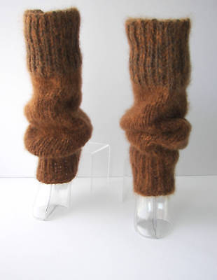 Hand Knit Extra Thick WIDE Seamless Leg warmers Brown WOOL MOHAIR