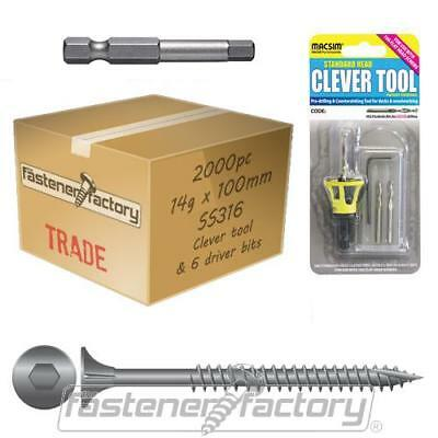 2000pc 14g x 100 mm 316 Grade Stainless Timber Decking Screw Clevertool Bundle