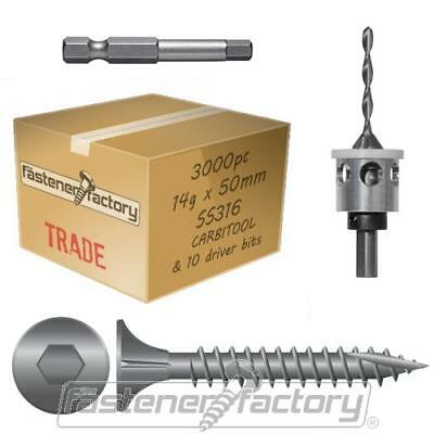 3000pc 14g x 50mm 316 Stainless Timber Decking Screw CarbITool Bundle Pack Deck