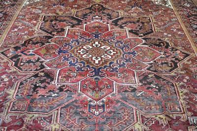 9'7x12'7 Spectacular Genuine Antique Persian Heriz Serapi Hand Knotted Wool Rug