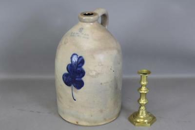 "2 Gal Cobalt Blue Decorated 19Th C Stoneware Jug ""fb Norton & Co Worcester, Ma"""