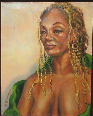 P. Brunner  African American Woman Original Oil On Canvas Painting