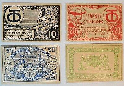Set of Four TEE-OHs Curency Notes from 90th Division, Berncastel, Germany, 1919