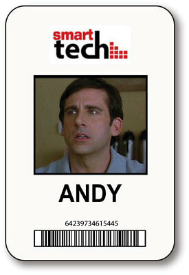 Andy Smart Tech 40 Year Old Virgin Movie Name Badge Halloween Prop Pin Back