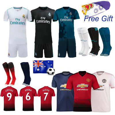 17/18 Ronaldo Soccer Football Short Sleeve Kits Jersey Kids Boy Team Suits+Socks