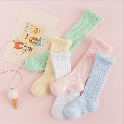5 Pack- Baby Girl Boy Toddler Knee High Cotton Summer Socks 0-6 6-12 12-24 month