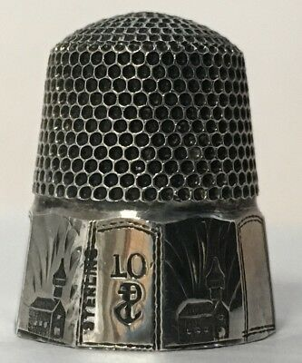 Stern Bros. Co. Silver Thimble - 10 Panel Band with Churches - cat#316 - c1890s