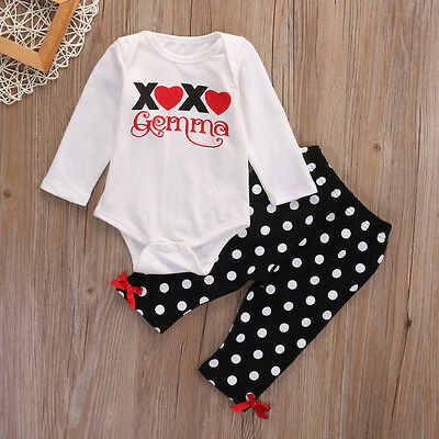 2PCS Newborn Baby Girls Boy kids Clothes Tops Romper +Long Pants Outfits Set hb