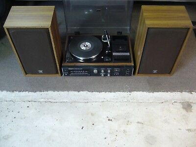 Sanyo music system (amp, tuner, turntable + cassette deck) and HMV speakers