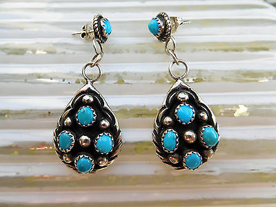 Silber Türkis Ohrringe, NAVAJO ZUNI, Sterling Silver turquoise earrings