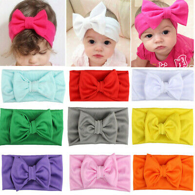 Kids Baby Girls Toddler Bow Hair band Headband Stretch Turban Knot Head Wrap ih