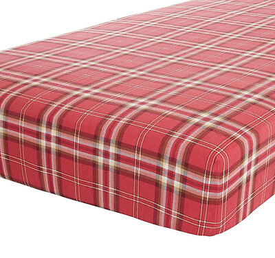 Red Tartan Check, Canterbury Single Fitted Sheet - 100% Brushed Cotton