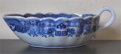 Antique 18th century Qianlong CHINESE Blue and White Porcelain Sauce/Gravy Boat