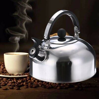 2L Stainless Steel Whistle Tea Kettle Hot Water Pot Heat Assitant Handle Silver