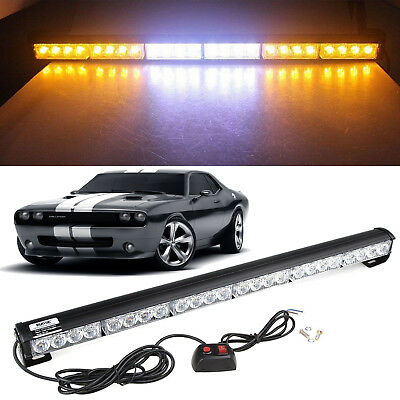 "Amber White 27"" 24 LEDs Emergency Warning Traffic Advisor Strobe Flash Light Bar"