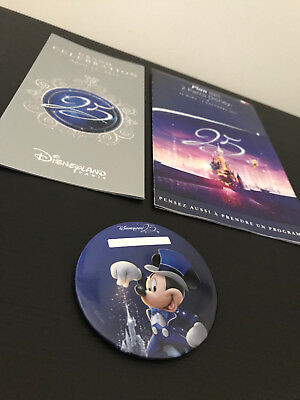 Badge exclusif Disneyland Paris 25 ans + Programme 12 avril 2017 + Plan 25 ans