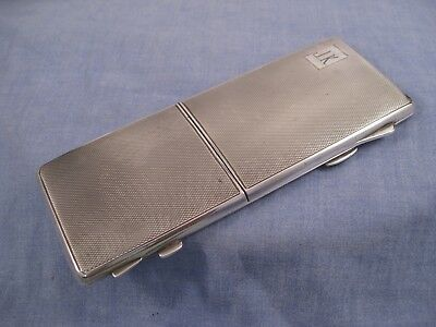 Sterling Silver English Art Deco Antique Mirror Compact Cigarette Card Case Box