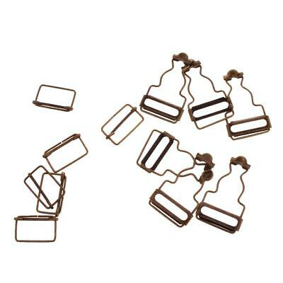 Set of 6 Bronze Dungaree Fasteners Overall Clips Brace Buckles Adjuster 38mm
