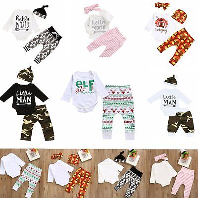 0-24M Infant Baby Boys Girls Tops Rompers+Long Pants Outfits Cotton Clothes Xmas