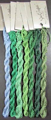 7x Needlepoint/Embroidery THREADS Caron Collection Soie Cristale/Green,Blue-FJ31