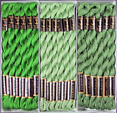 36x Needlepoint/Embroidery THREAD Anchor Cotton Pearl 5/Green-FL61