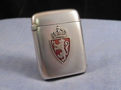 Norwegian Coat Of Arms Antique Vesta Case Silver Guilloche Enamel Matchsafe Box