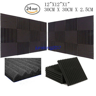 "24 PACK 12""X 2""X1"" Acoustic Foam Panel Wedge Studio Soundproofing Wall Tiles"
