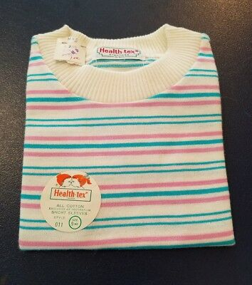 Vintage NWT HEALTH-TEX Baby Girl/Boy Multi-Color Stripe Short Sleeve Shirt 9m