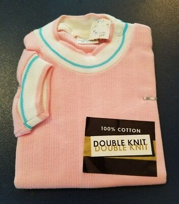 Vintage NWT Baby Girl/Boy Doube Knit Light Pink Short Sleeve Shirt Size 2