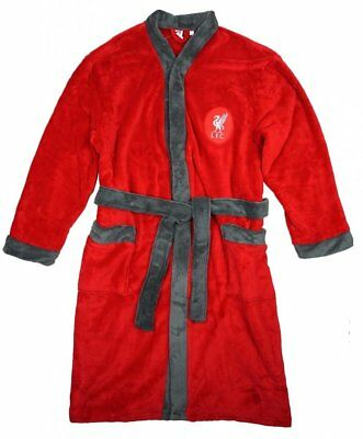 NEW !! 100% Mens Official Liverpool FC Dressing Gown Bathrobe Supersoft Fleece