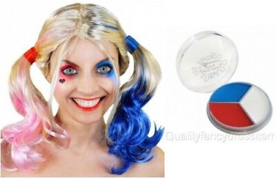 Harley Quinn WIG + FACE PAINT Suicide Blonde Pink Blue Halloween Fancy Dress