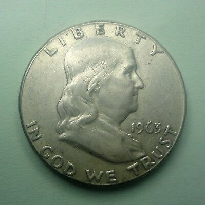 "1963 P  Franklin Half Dollar 90 % Silver US Coin OLD""TUCK"" FH708"