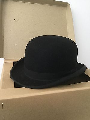 SCOTT & Co HATTERS ICONIC VINTAGE  'EXTRA QUALITY' BLACK BOWLER HAT