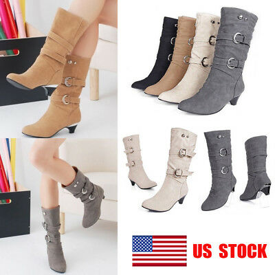 US Womens Faux Suede Mid Calf High Heel Round Toe Riding Casual Boots Shoes Size