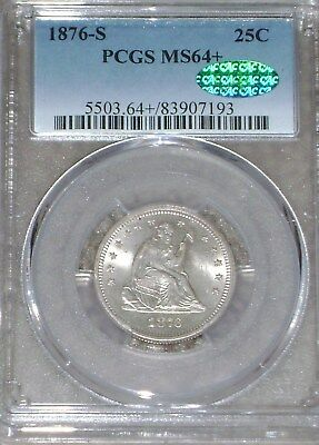 1876-S Seated Liberty Quarter PCGS MS64+ CAC