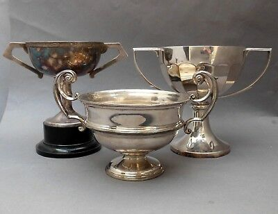 """3 Vintage Silver Plated TROPHY CUP's ~ NOT Engraved ~ 6"""" dia. / English"""