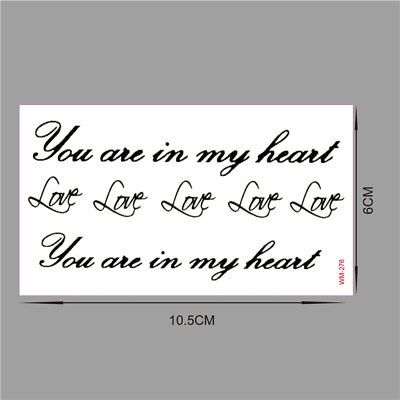 You Are in My Heart Love Temporary Tattoo Fake Transfer Sticker Art Body
