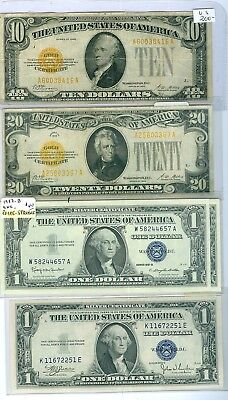 US Gold Certificat: $10 & $20 both 1928 +$ S1935C UNC+2-1957b.Est:$760