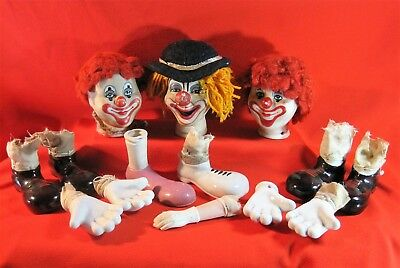Scary Clown Doll Creepy Gothic Vintage Parts Make Your Own Pennywise Dolls