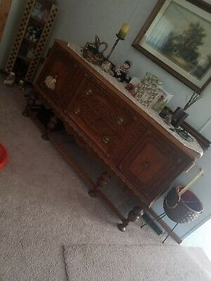 Antique carved oak buffet sideboard