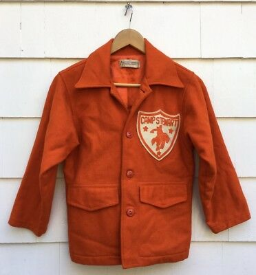 Vintage 50s 60s Camp Stewart For Boys Texas Horse Riding Wool Letterman Jacket
