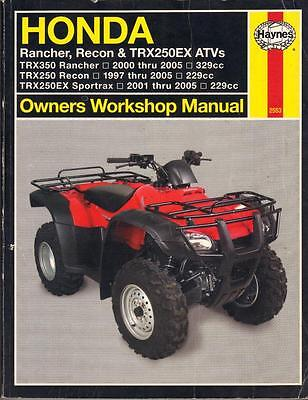 Honda Trx350 Rancher,trx250 Recon,sportrax,atv,quad Haynes Manual 1997-2005