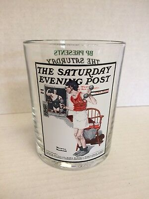 """Norman Rockwell The Saturday Evening Post Glassware """"the Bodybuilder"""""""