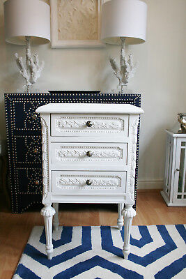 White Ornate Wooden French Bedside Table Cabinet Chest Of Drawers Annie Sloan